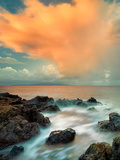 Sunrise and Clouds on Rocky Beach. Maui, Hawaii Photographic Print by Dennis Frates