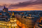 Skyline with Metropolis Building and Gran Via Street at Sunset, Madrid, Comunidad De Madrid, Spain Photographic Print by Stefano Politi Markovina
