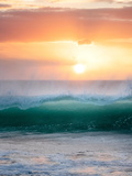 Sunset and Waves at Hapuna Beach. Hawaii Island Photographic Print by Dennis Frates