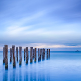 The Remains of an Old Jetty on the Beach Near Dunedin, New Zealand, Just before Dawn, Square Photographic Print by  Travellinglight