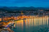 City Skyline by Night with Bahia De La Concha, Donostia San Sebastian, Gipuzkoa, Spain Photographic Print by Stefano Politi Markovina