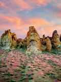 Rock Formations with Red Brome Grass and Clouds in Leslie Gultch. Malhuer County, Oregon Photographic Print by Dennis Frates