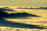 Mount Rigi over Swiss Plateau or Central Plateau Shrouded in Fog, Central Switzerland Photographic Print by Klaus-Peter Wolf
