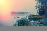 Misty Autumn Morning on the River, Rural Landscape Photographic Print by Andriy Solovyov