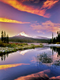 Mount Washington Reflection in Big Lake with Snow and Sunset. Oregon Photographic Print by Dennis Frates