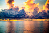 A Dark Sky with Amazing Array of Storm Clouds with Calm Seas Photographic Print by Michael Scott