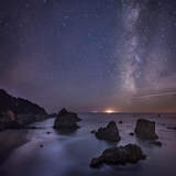 Milky Way over Ocean and Sea Stacks, Samuel Boardman State Park, Oregon, America, USA Photographic Print by  Simonbyrne