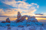 Snowy Sunset at Turret Arch, Arches National Park, Utah Windows Section Photographic Print by Tom Till