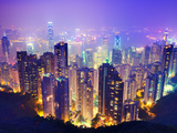Night View of Hong Kong, China from Victoria Harbor Photographic Print by Sean Pavone