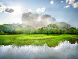 River in the Garden Near Mountain of Sigiriya Photographic Print by  Givaga