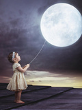 Fairy Portrait of a Little Cute Girl with a Moony Balloon Photographic Print by Konrad B?k