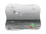 Diver reaches for martini olive. - New Yorker Cartoon Premium Giclee Print by Paul Karasik