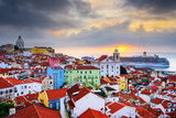 Lisbon, Portugal Sunrise Skyline at Alfama District Photographic Print by Sean Pavone