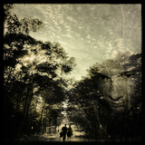 A Man and a Woman Walking Along a Path Through Woodland Photographic Print by Tim Kahane
