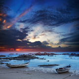 Traditional Asian Boats Moored by the Wave Line. Long Exposure Shot Photographic Print by Vladislav Moiseev