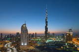 Burj Khalifa, the Dubai Mall and Skyline of Downtown Dubai at Night in United Arab Emirates Photographic Print by Iain Masterton