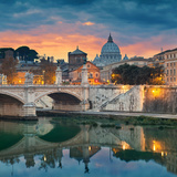 Rome. View of Vittorio Emanuele Bridge and the St. Peter's Cathedral in Rome, Italy During Sunset Photographic Print by Rudolf Balasko