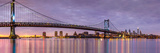 Panoramic View of the Ben Franklin Bridge and Philadelphia Skyline, under a Purple Sunset Photographic Print by Mihai Andritoiu