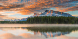 Two Jack Lake at Sunset, Banff National Park, Alberta, Canada Photographic Print by Marianne Winther