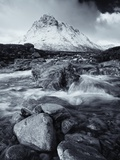 A Toned B&W Image of River Coupalls with Snow Capped Peak of Buachaille Etive Mor in Distance Photographic Print by Stephen Taylor