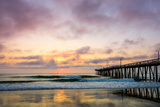 A Beautiful Cloudy Sunrise Captured at the Virginia Beach Fishing Pier Photographic Print by Michael Scott