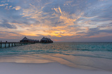 Gorgeous Sunset over the Ocean. Panorama of Tropical Island. Maldives Photographic Print by Maryna Patzen