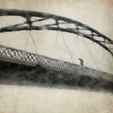 A Man Crossing a Bridge on a Raining Day Photographic Print by Tim Kahane