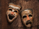 Comedy and Tragedy Masks Lying Photographic Print by Lars Hallstrom