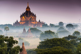 Temples in Morning Mist, Stupas and Pagodas in Temple Complex of Plateau of Bagan Photographic Print by Klaus-Peter Wolf