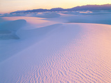 Wind Ridges in Gypsum Dunes at Sunset with San Andres Mountains Photographic Print