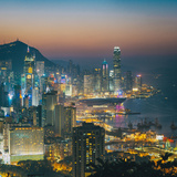 View of Hong Kong Victoria Harbour at Night Photographic Print by  Tuimages