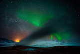 Geothermal Area and Aurora Borealis or Northern Lights, Iceland Photographic Print by Ragnar Th Sigurdsson