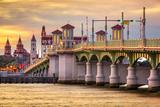 St. Augustine, Florida, USA City Skyline and Bridge of Lions Photographic Print by Sean Pavone