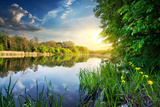 Spring River and Green Forest at Sunset Photographic Print by Sergii Kolesnyk