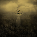 Surreal Image of Back View of Young Woman Standing in Field Photographic Print by Marta Orlowska
