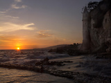 The Sunset over the Turret Tower at Victoria Beach in Laguna Beach, Southern California Photographic Print by Stephanie Starr
