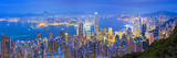 Hong Kong Panorama. Panoramic Image of Hong Kong with Many Skyscrapers During Twilight Blue Hour Photographic Print by Rudolf Balasko