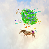 Fantasy Image of Zebra Flying in Sky on Bunch of Colorful Balloons Photographic Print by Sergey Nivens