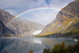 Glacier Nigardsbreen with Glacial Lake in Autumn, Rainbow, Sogn Og Fjordane, Norway Photographic Print by Klaus-Peter Wolf
