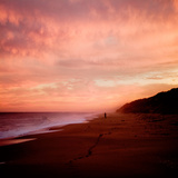 The Australian Coast at Sunset with a Figure in the Distance Photographic Print by  Trigger Image