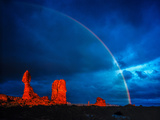 Rainbow at Balanced Rock, Arches National Park, Utah Stormlight at Sunset Entrada Sandstone Photographic Print by Tom Till