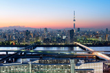 Tokyo Skyline at Dusk, View of Asakusa District, Sumida River and Skytree Photographic Print by Roland Nagy