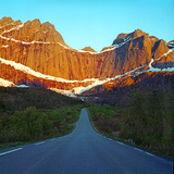 Midnight Sun at Peak Stjerntind, under Road, Lofoten, Northern Norway Photographic Print by Steve Bloom