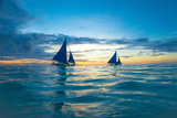 Sailing Boat at Sunset, Sea Photographic Print by Zhencong Chen