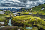 The Emstrua River, Thorsmork with the Krossarjokull Glacier in the Background, Iceland Photographic Print by Ragnar Th Sigurdsson