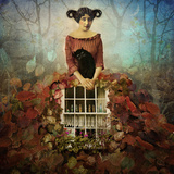 Cozy Autumn, Girl Wearing Leaf Dress with a Cat in Her Arms Photographic Print by Marta Orlowska