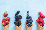 Waffle with Fresh Berries, Homemade Ice Cream Making Photographic Print by Marcin Jucha