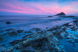 Timelapse Sunset and Blur Water at Atlantic Rocky Beach in Wembury Devon, Uk Photographic Print by Marcin Jucha