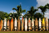 Surfboards Decoration in Garden, Huelo, Hawaii Photographic Print by Moon Night Shadows Images