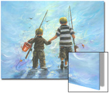 Two Little Boys Going Fishing Poster by Vickie Wade